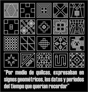 El investigador Carlos Milla Villena demuestra en sus estudios, que en el Tawantinsuyo existieron diversos tipos de escritura, como los quipus o estos Tocapus.